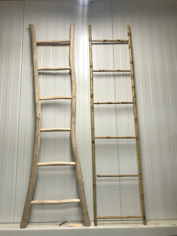 Leuke bamboe of teak ladder, decoratie